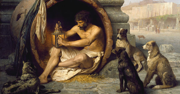 Diogenes sitting in his tub by Jean-Léon Gérôme (Public Domain)