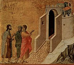 Jesus and the two disciples On the Road to Emmaus, by Duccio, 1308-1311, Museo dell'Opera del Duomo, Siena.