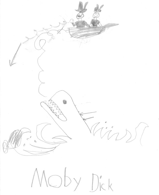 A Classic I Don't Own on Audiobook. (Illustration courtesy of Aidan, age 7)