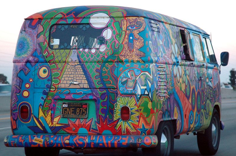 VW Bus in Hippies Colors by Marshall Astor