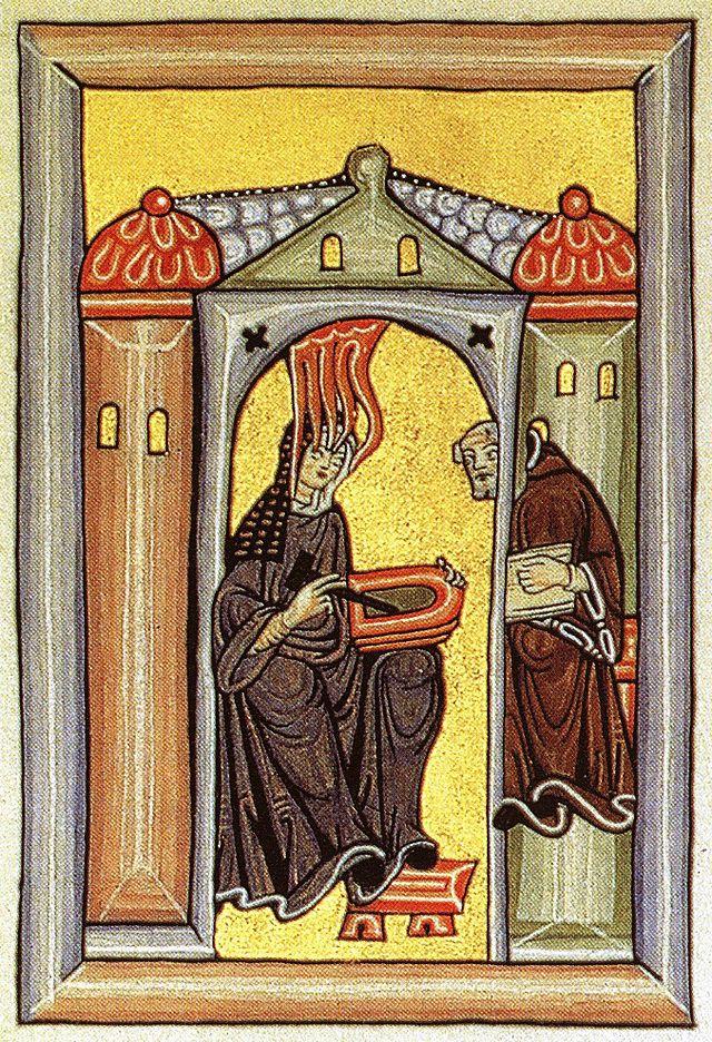 """Hildegard von Bingen"" by Miniatur aus dem Rupertsberger Codex des Liber Scivias.. Licensed under Public Domain via Wikimedia Commons - http://commons.wikimedia.org/wiki/File:Hildegard_von_Bingen.jpg#mediaviewer/File:Hildegard_von_Bingen.jpg"