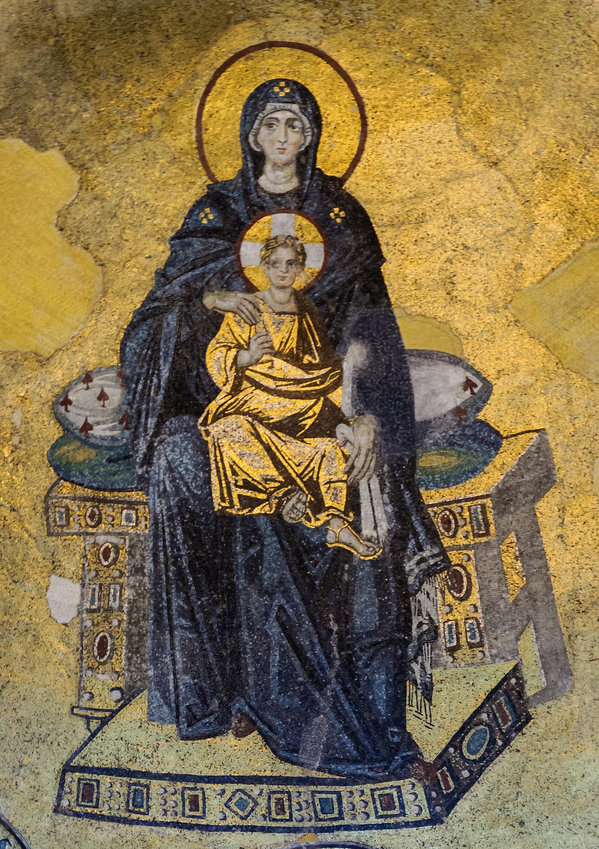 Vierge à l'Enfant, mosaïque de l'abside de Sainte-Sophie (Istanbul, Turquie)