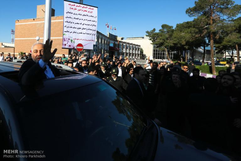Foreign Minister Zarif receiving a hero's welcome.