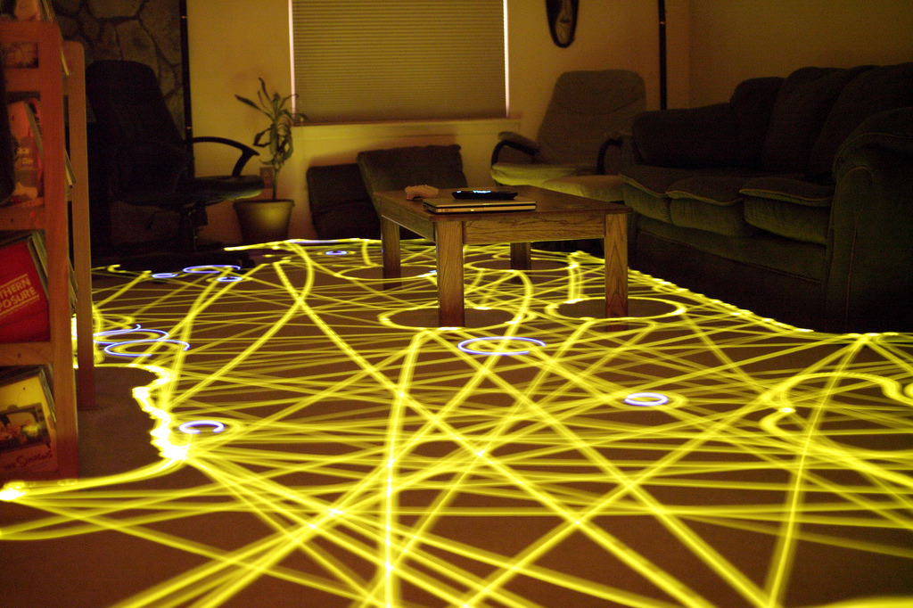 "A time-lapse photo of the trail taken by a Roomba floor cleaner. (Credit: ""Roomba time-lapse"" by Chris Bartle - http://www.flickr.com/photos/13963375@N00/3533146556. Licensed under CC BY 2.0 via Wikimedia Commons.)"