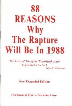 88 Reasons Why the Rapture Will be in 1988, by Edgar Whisenant, cover of book. Biff read his copy of this book to pieces! (Source: Amazon.com)