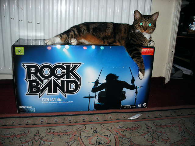 Someone's got your rock band's drum set right here. (Credit: Sally Butcher, CC license.)