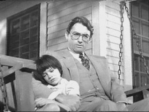 Atticus Finch (Gregory Peck) and Scout (Mary Badham) in the iconic 1962 film