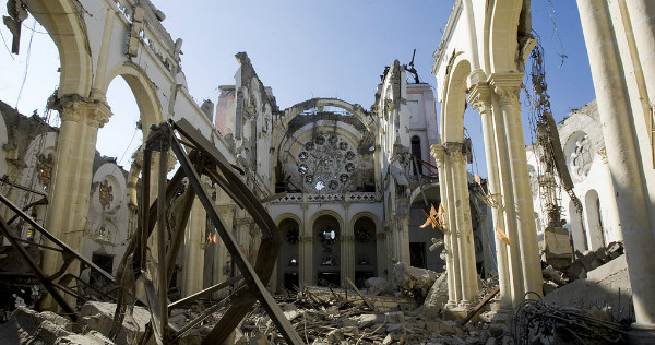 Rubble of a cathedral in Haiti after the 2010 earthquake