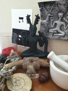 Description: A statue of Cernunnos on the author's altar.