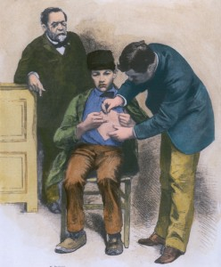 vintage drawing of a 19th century doctor vaccinating a young man