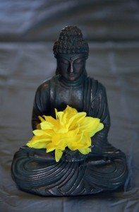 Image: buddha statue with a flower in its lap