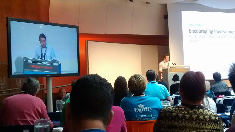 David Waldock presents at the TUC LGBT Conference 2014 (Photo: Gillian Donaldson-Selby)