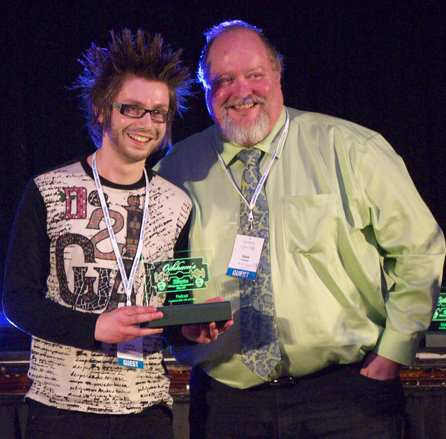 Jonny Scaramanga receives the 2014 Ockham Award for best blog from Nathan Phelps. Photo by Zooterkin, used with permission.