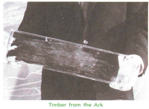 Purportedly a plank of wood from Noah's Ark, this image appears in Accelerated Christian Education's Science 1096 workbook (3rd edition), p. 23.