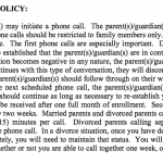 Only parent(s)/guardian(s) may initiate a phone call. The parent(s)/guardian(s) may call in. The child does not call out. All phone calls should be restricted to family members only. The most important topic discussed is the telephone. The first phone calls are especially important. During your first telephone conversation, it should be established that the parent(s)/guardian(s) are in control of the conversation. If at any point the conversation becomes negative in any nature, the parent(s)/guardian(s) should warn their child that if he or she continues with this type of conversation, they will discontinue the conversation. If the child continues, the parent(s)/guardian(s) should follow through on their warning and discontinue the conversation. During the next scheduled phone call, the parent(s)/guardian(s) should again give their child this warning. This should continue as long as necessary to re-establish your authority and control. The first phone call may be received after one full month of enrollment. Second and subsequent phone calls may come one every two weeks. Married parents and divorced parents calling their child may have a maximum of fifteen (15) minutes per call. Divorced parents calling separately may each have a maximum ten (10) minute phone call. In a divorce situation, once you have decided whether you will be calling together or separately, you will need to maintain that status.