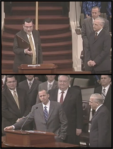 Top: On behalf of the Christian Law Association, David C. Gibbs III (left) awards Dr. Earl Jessup (front, right) the Jack Hyles Memorial Award at First Baptist Church Hammond in 2010. Bottom: David C. Gibbs III and David C. Gibbs Jr. look on as Jack Hyles' son-in-law Jack Schaap congratulates Dr. Jessup for the Christian Law Association award. Two years later Schaap pleads guilty for trafficking a girl across state lines and raping her. Despite personal relationships with church leadership, the Christian Law Association is hired by the church to conduct an internal investigation. Image: YouTube.