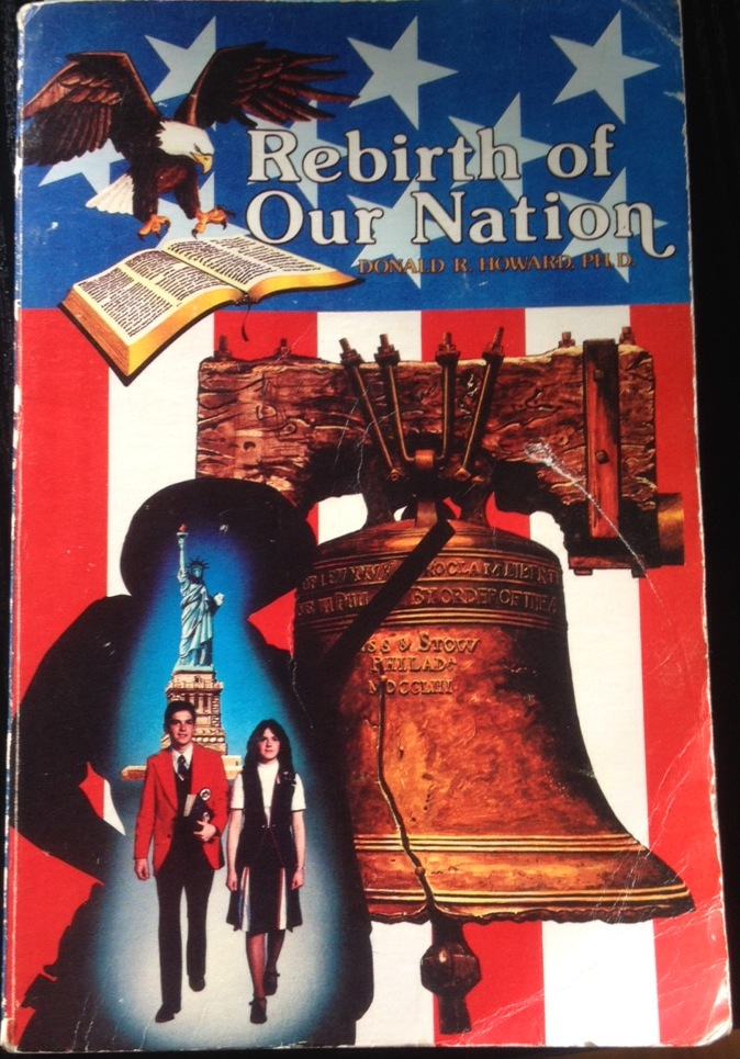 Cover depicts an eagle, a Bible, the Liberty Bell, the Statue of Liberty, and a boy and a girl in red, white, and blue uniforms, all over a US flag backdrop.