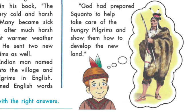 A white boy wears a headband with feathers in it while a thought bubble shows a Native American chief.