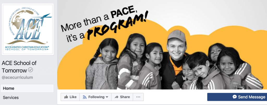 "ACE Facebook header. Slogan says ""More than a PACE, it's a PROGRAM!"""