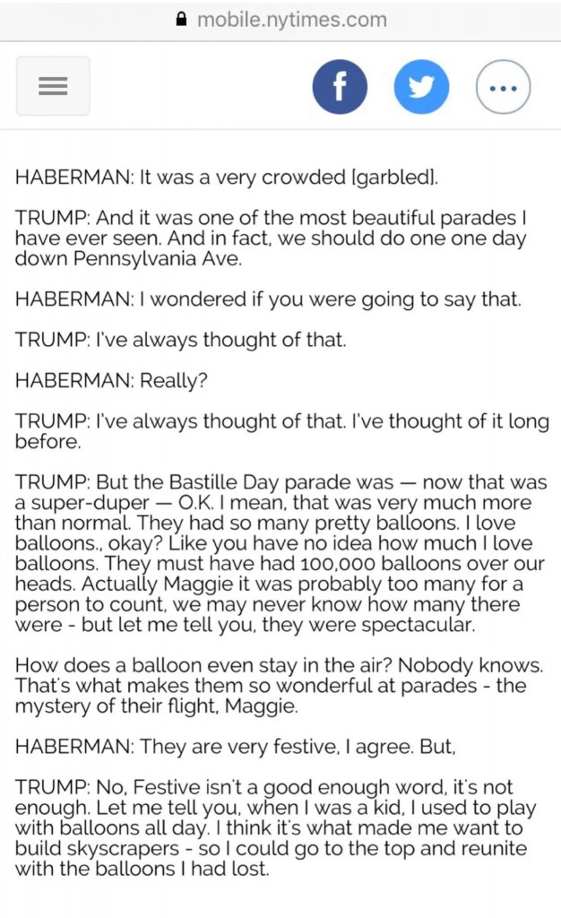 "This fake Trump quote reads ""How does a balloon stay in the air? Nobody knows. That's what makes them so wonderful at parades - the mystery of their flight, Maggie."""