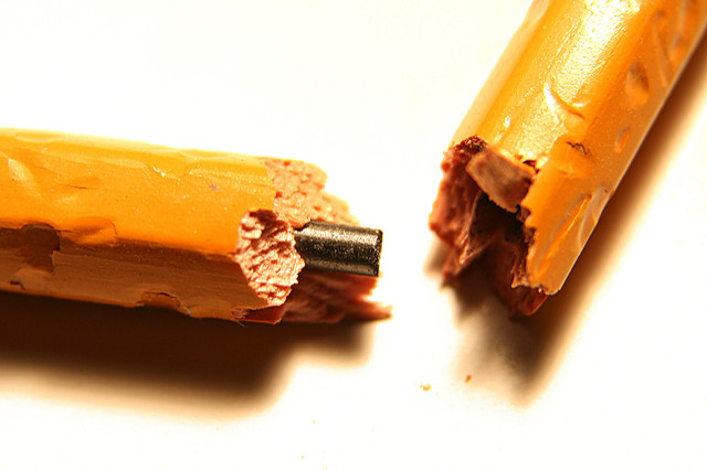 Accelerated Christian Education might make you do this to a pencil. [image: broken pencil]