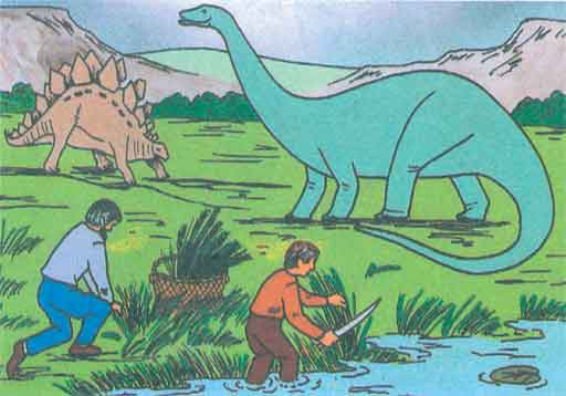 Humans with dinosaurs. Image from an Accelerated Christian Education science book.