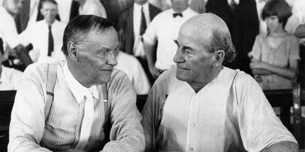 "Scopes ""Monkey"" Trial, Clarence Darrow (left) and William Jennings Bryan (right) during the Scopes Monkey Trial"