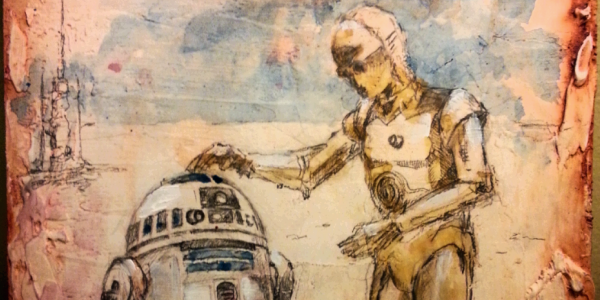 """R2D2 C3P0 BFF"" 9x9 mixed media on wood panel (cropped)"