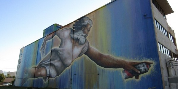 Probably not what God looks like, but pretty cool street art anyway! (CC0 public domain)