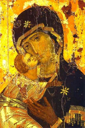 """""""Our Lady of Vladimir,"""" Icon of the Ever-Virgin Mary. Public Domain, WikiCommons"""