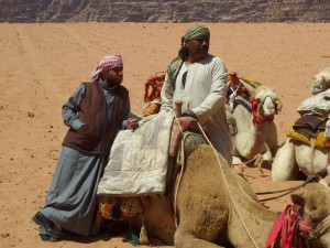 Bedouins and their camels in Wadi Rum