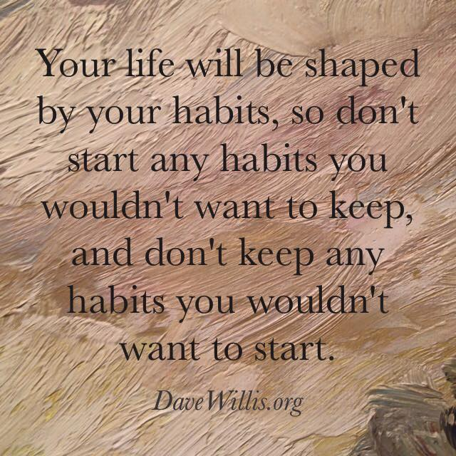 your life will be shaped by your habits quote Dave Willis davewillis.org