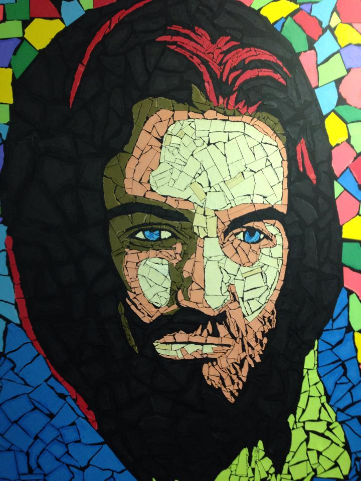 Jesus face art made with ripped torn pieces of paper