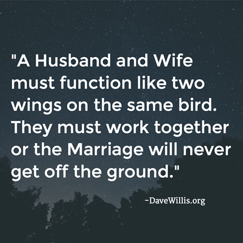 Dave Willis quote davewillis.org marriage husband wife function two wings on same bird work together