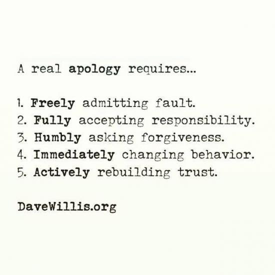 5. Refusing to admit fault or sincerely apologize.