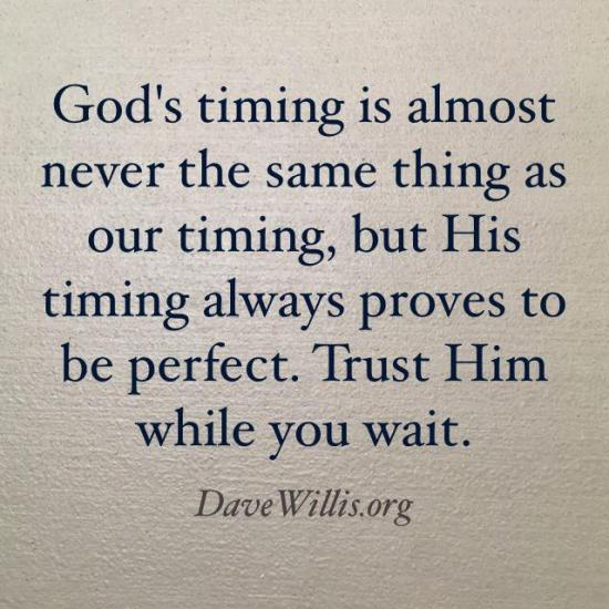 3. Remember that God's timing is always perfect.