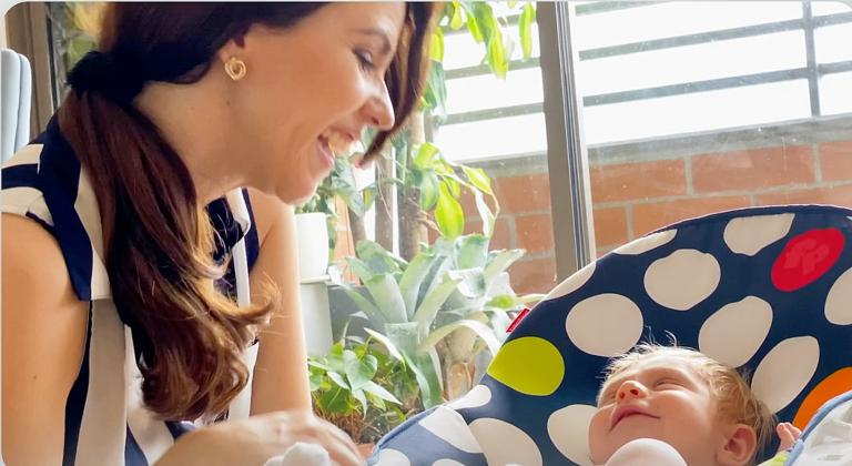 Valentina Rendón is a doting new mother.