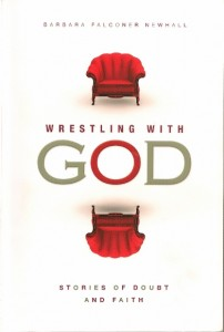 """The cover of Barbara Falconer Newhall's book, """"Wrestling with God: Stories of Doubt and Faith,"""" shows two red chairs in opposition to one another. Cover design by Michelle Lenger. Publisher Patheos Press"""