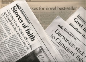 Clippings from the Contra Costa Times newspaper, California, of stories by religion reporter Barbara Falconer Newhall. Photo by Barbara Newhall