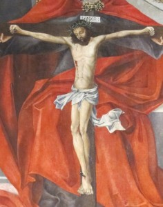 Detail of a painting of the crucifixion of Jesus with the Trinity, Matthias Church, Budapest. Photos by Barbara Newhall