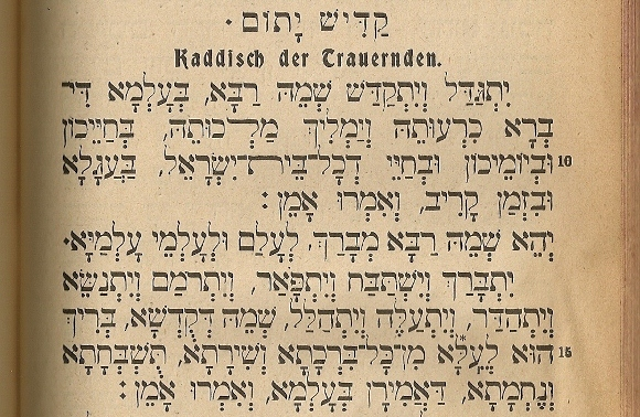 A Bleichrode prayer book 1923, a German prayer book opened to the Kaddish in Hebrew. Photo by Barbara Newhall