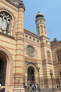 Facade of the Dohany Street Synagogue, with tower, Budapest. Photo by Barbara Newhall