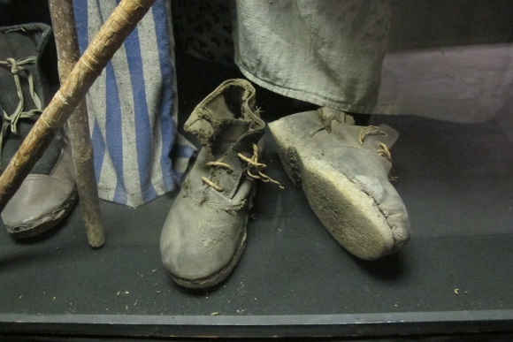 Shoes worn by Jews interned at Nazi concentration camps during World War II. At the Dohany Street Synagogue museum. Photo by Barbara Newhall