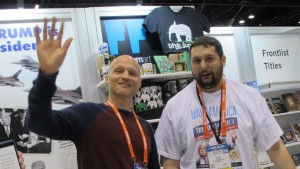 """Scott Dikkers, editor of """"Trump's America: The Complete Loser's Guide"""" and Sean Smith at Book Expo America 2016. Photo by Barbara Newhall"""