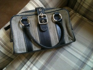 Herringbone tweed and leather handbag. My Mother's Stuff. Photo by Barbara Newhall