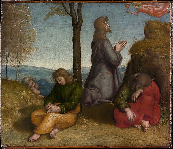 """Religious art. Raphael's """"The Agony in the Garden."""" Raphael's work, known for its sweetness, has fallen out of favor in modern times. The Metropolitan Museum of Art. Reproduced by permission."""