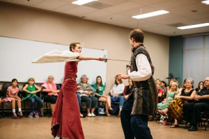Bailey Timmis as Hippolyta fights with Michael Drischoll or Theseus.