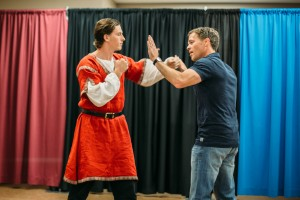 Samuel Hughes as Demetrius, working with his director, Travis Curtright.