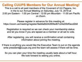 2019 CUUPS Annual Meeting Notice