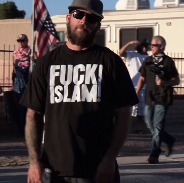 "Screenshot from Dennis Gilman's ""Anti-Islam Protest Attracts Phoenix's Best & Worst"" video for the Phoenix New Times. (Click pic for link to full video.)"
